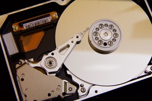 Showing an opened harddisk